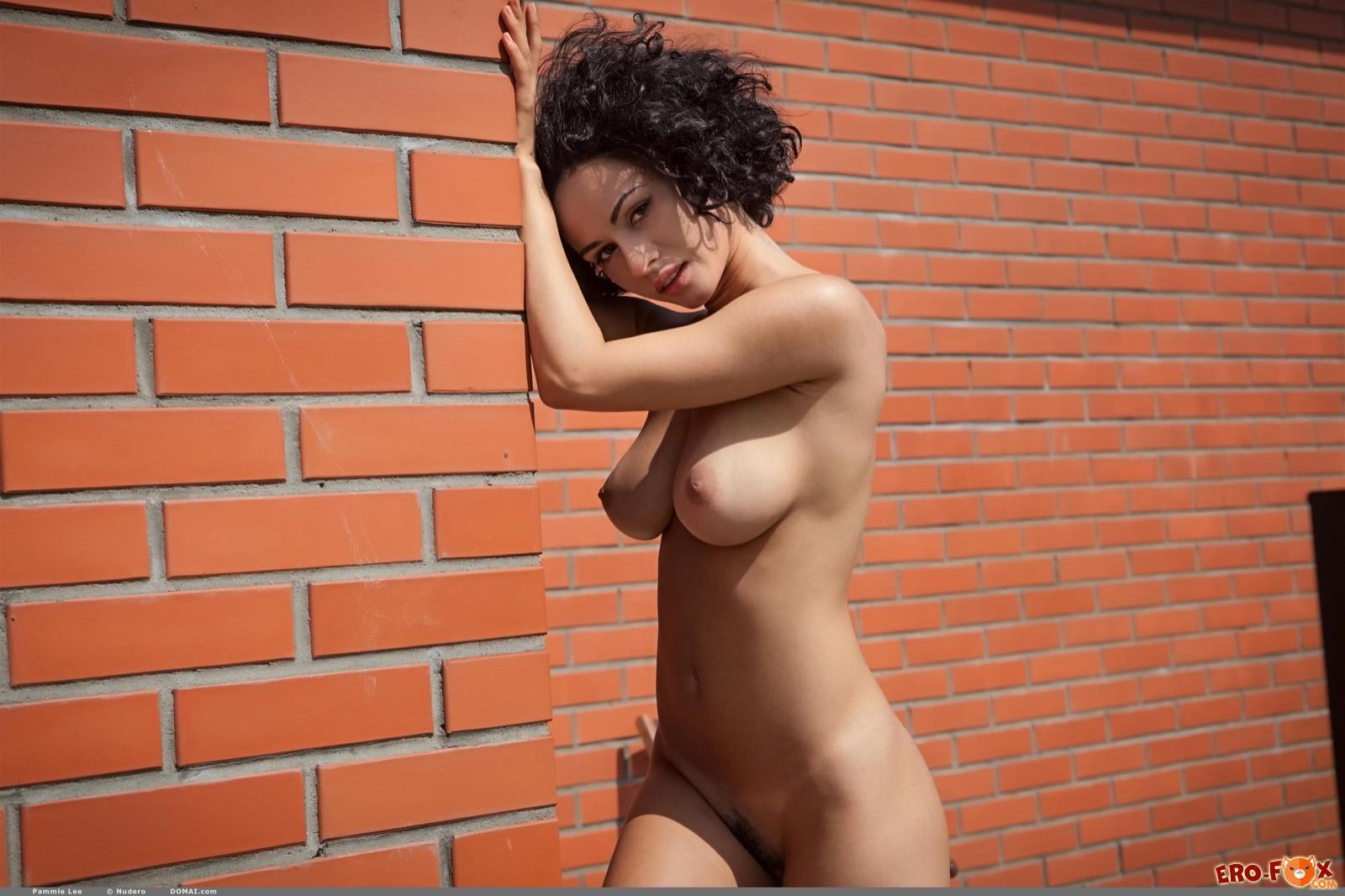 Кучерявая брюнетка оголила грудь и волосатую киску