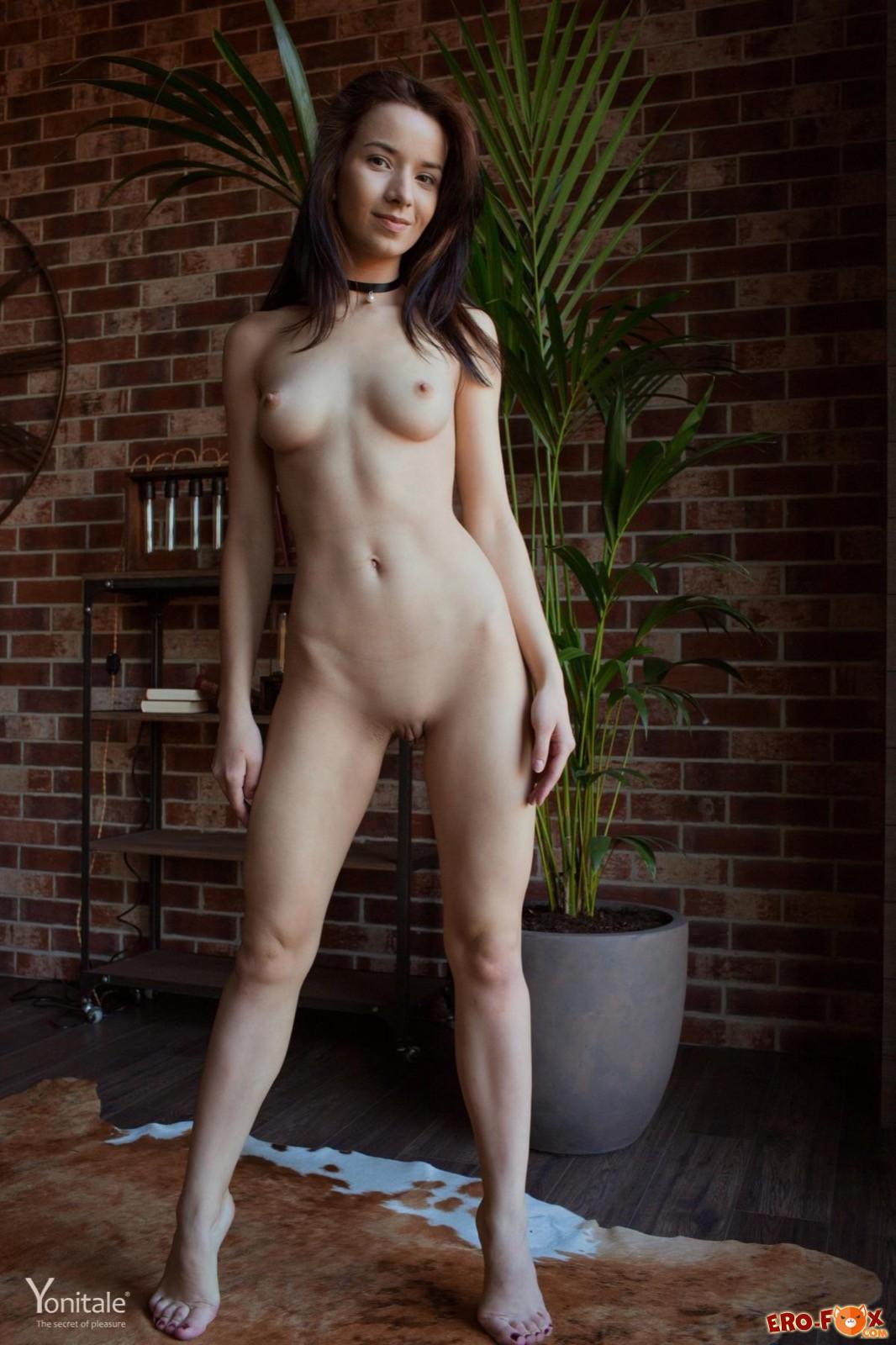 Худая голая красавица с красивой грудью
