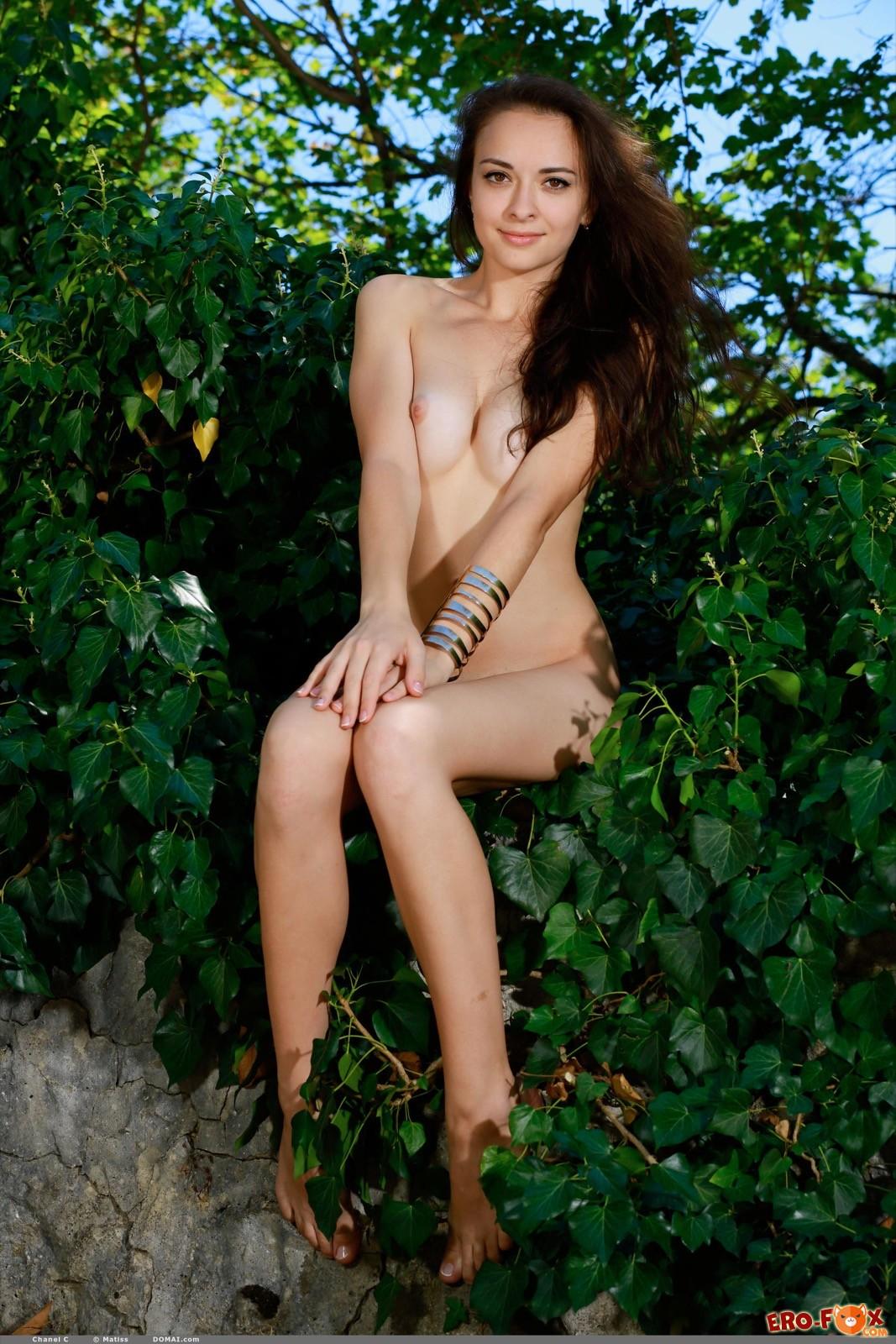 Голенькая девушка с красивой попкой в кустах