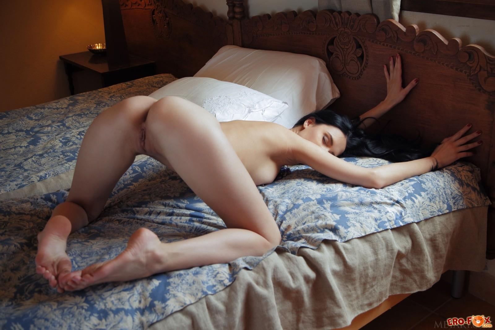 Брюнетка с упругими сиськами встала раком в постели